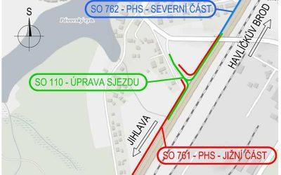 Sjezd silnice I/38 směr Pávov – Jihlava